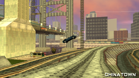 Grand Theft Auto: Liberty City Stories PSP During a Unique Jump attempt on Portland over the El Train tracks.