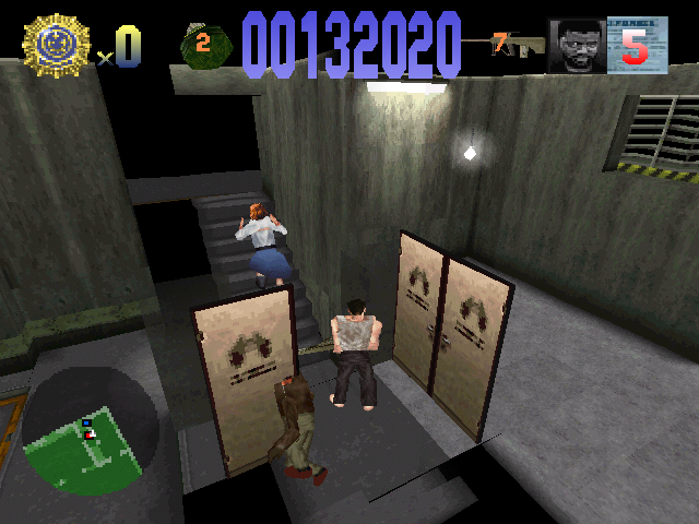 Die Hard Trilogy PlayStation DH1 - Hostage escaping via the stairs
