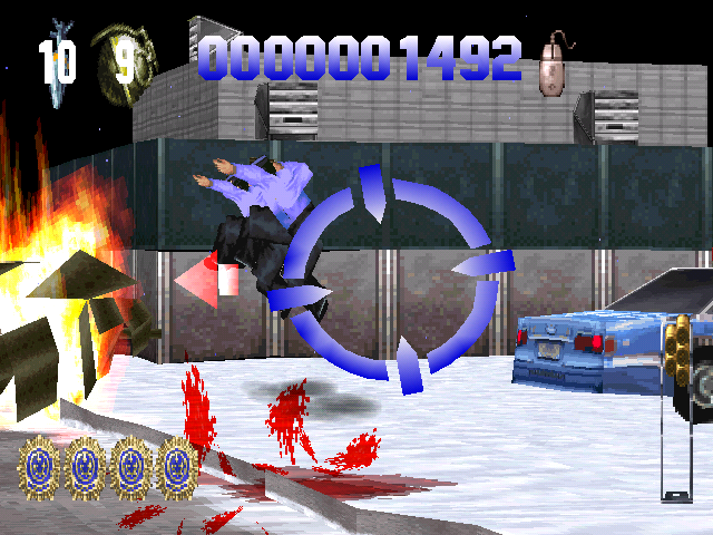 Die Hard Trilogy PlayStation DH2 - The red arrow indicates that there is a terrorist to your left