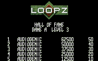 Loopz Atari ST Partial scores