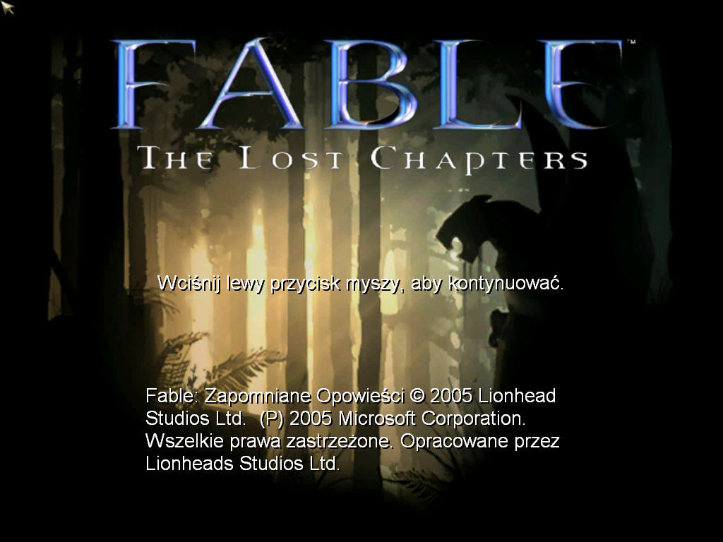Fable: The Lost Chapters Windows Title screen
