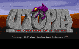 Utopia: The Creation of a Nation Amiga Title screen