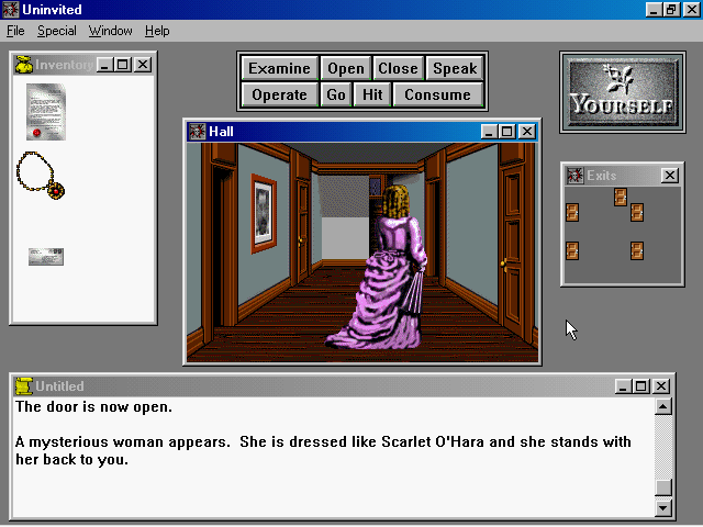 Uninvited Windows 3.x About to attract the mysterious lady's attention, instant game over.
