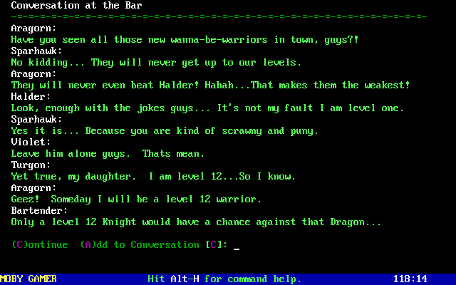 Legend of the Red Dragon DOS the NPCs will conduct conversations in the Inn