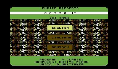 Gazza II Commodore 64 Language selection