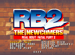 Real Bout Fatal Fury 2: The Newcomers Neo Geo CD Main menu.