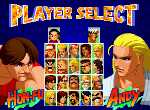 Real Bout Fatal Fury 2: The Newcomers Neo Geo CD Selecting a Fatal Fury fighter (the new artworks looks good).