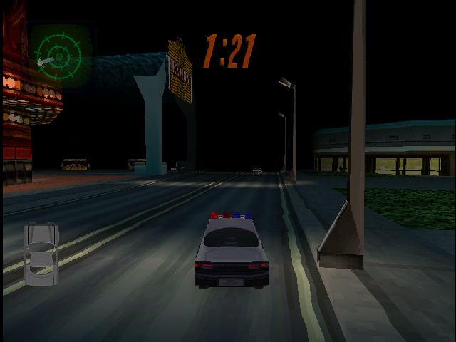 Die Hard Trilogy 2: Viva Las Vegas PlayStation Driving - A police car the next