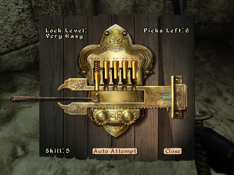 The Elder Scrolls IV: Oblivion Windows Locks are pickable via a challenging in-game mechanic