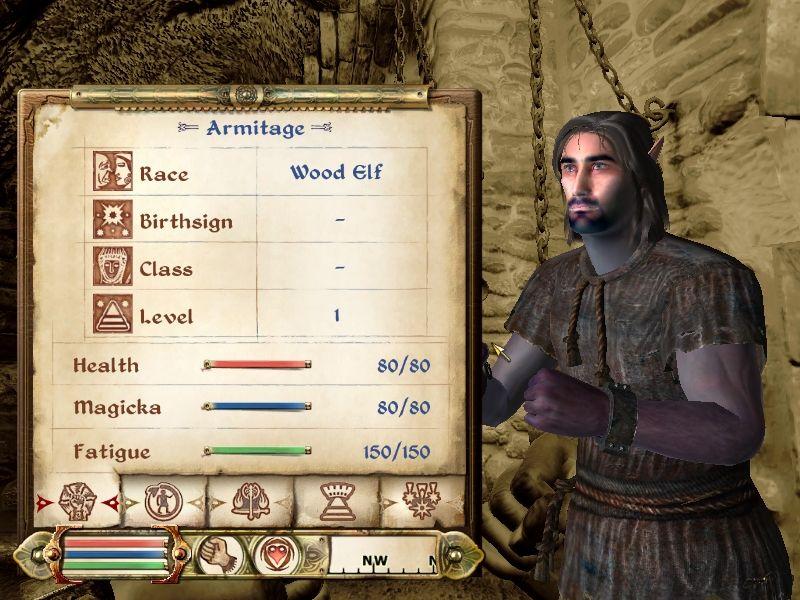 The Elder Scrolls IV: Oblivion Windows The Character Sheet for a starting character. One of several tabs