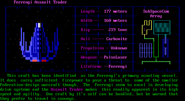 Trade Wars 2002 DOS Specs on the Ferrengi Assault Trader - NPC-only ship