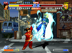 Real Bout Fatal Fury 2: The Newcomers Neo Geo CD Blue Mary tries the counter-attack, but she is stopped by Jin Chonshu's Dragon Transformation move.