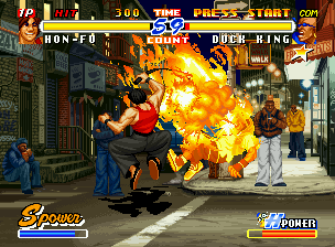 Real Bout Fatal Fury 2: The Newcomers Neo Geo CD Using his flaming anti-air move Seikuu Rekka Kon, Hon-Fu discontinues Duck King's jump.