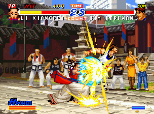 Real Bout Fatal Fury 2: The Newcomers Neo Geo CD Attacking with her Nanpa move, Li Xiangfei shows to Kim Kaphwan a fraction of her strength!
