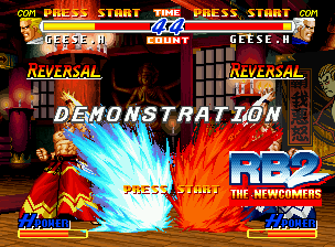 Real Bout Fatal Fury 2: The Newcomers Neo Geo CD Demonstrative match showing Geese Howard and his alter-ego throwing Double Reppukens simultaneously.