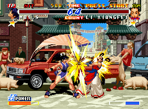 Real Bout Fatal Fury 2: The Newcomers Neo Geo CD Mai takes advantage of Xiangfei's open guard and attacks her with her fan-swinging move Night Bird.