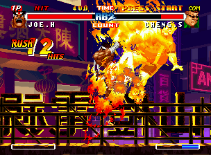 Real Bout Fatal Fury 2: The Newcomers Neo Geo CD 12 flaming-stunning hits of Joe Higashi's Thunder Fire later: Cheng Sinzan is about to be defeated!