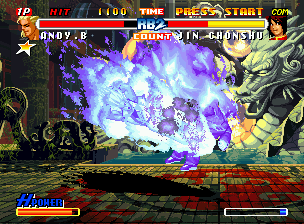Real Bout Fatal Fury 2: The Newcomers Neo Geo CD The non-stop-flaming action continues, but now with Andy attacking Chonshu with his Chou Reppa Dan.