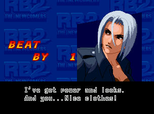Real Bout Fatal Fury 2: The Newcomers Neo Geo CD Victory screen (only for 2 Player post-matches).