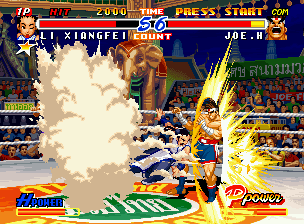 Real Bout Fatal Fury 2: The Newcomers Neo Geo CD In a certain moment, Joe is suddenly struck by the shoulder-stomping hit of Xiangfei's Chou Pairon.