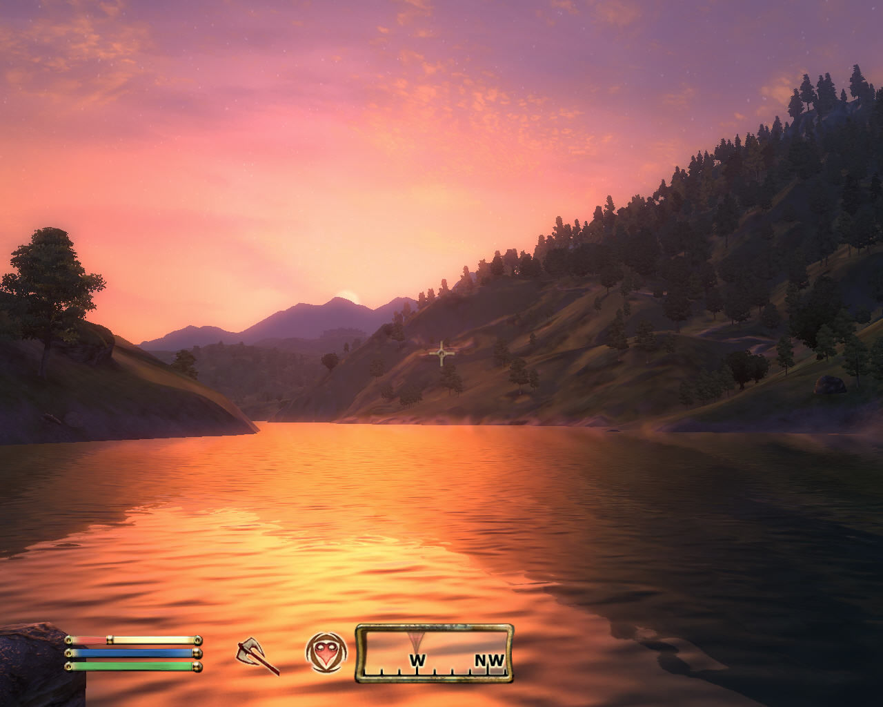 The Elder Scrolls IV: Oblivion Windows Beautiful sunset. This game looks absolutely amazing
