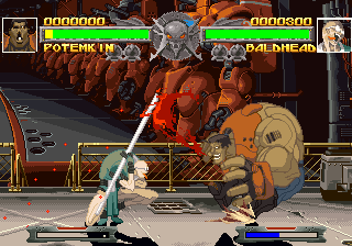 Guilty Gear PlayStation The game offers characters of various proportions: from the skinny Dr. Baldhead (right) to the beefy Potemkin (left).
