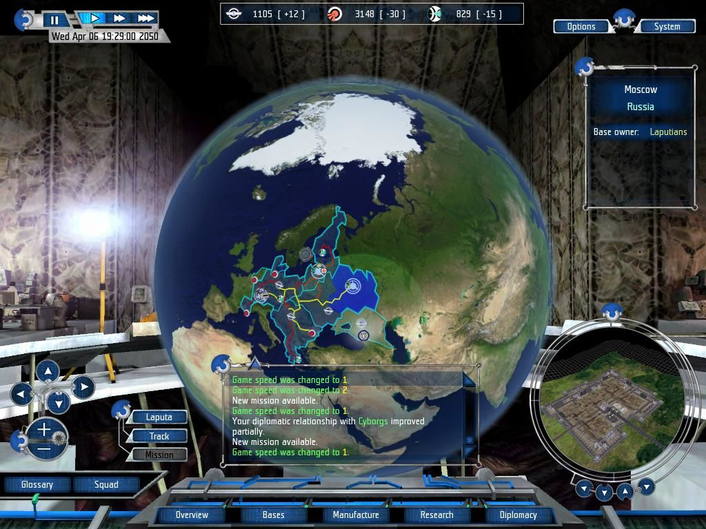 UFO: Aftershock Windows Strategic Interface. This is where you choose missions and build factories etc.