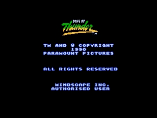 Days of Thunder NES Title Screen 1