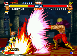 Real Bout Fatal Fury 2: The Newcomers Neo Geo CD A clashing-simultaneous attack involving Terry's Round Wave and Krauser's full-charged Kaiser Wave.