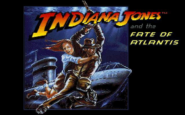 Indiana Jones and The Fate of Atlantis: The Action Game DOS The title screen.