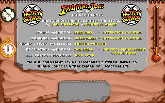 Indiana Jones and The Fate of Atlantis: The Action Game DOS Game credits.