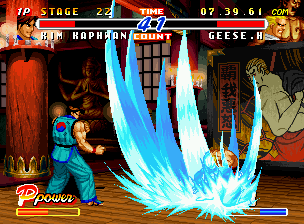 Real Bout Fatal Fury 2: The Newcomers Neo Geo CD Before beginning a counterattack, Kim Kaphwan waits Geese Howard to end his Raging Storm.