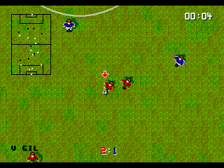 Super Kick Off Genesis Nearing the end of the match. Notice how the grass is much less green and more brown than in the first game screenshot.