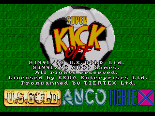 Super Kick Off Genesis Title screen
