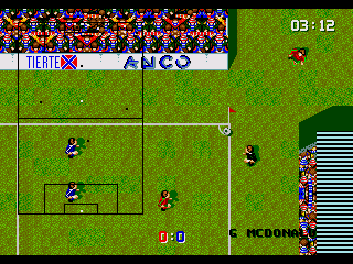 Super Kick Off Genesis A corner. The typical KO directional swerve is absent from here