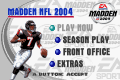 Madden NFL 2004 Game Boy Advance Main menu.
