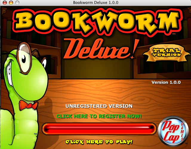 Bookworm Deluxe Macintosh Title screen