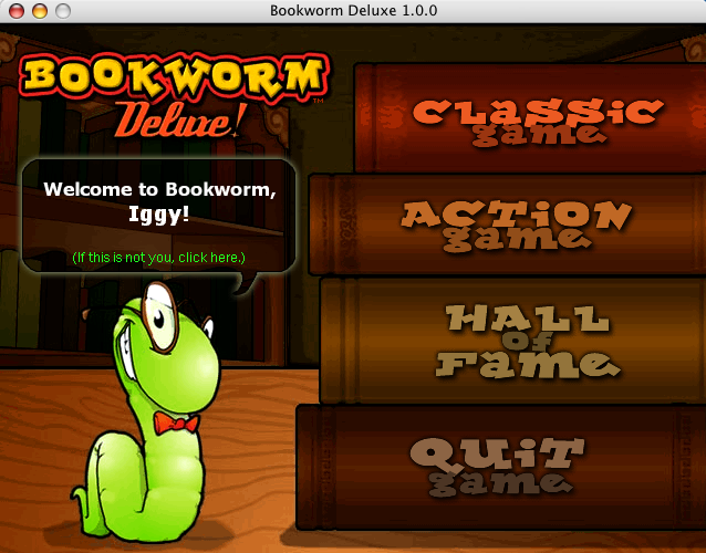 Bookworm Deluxe Macintosh Setup screen