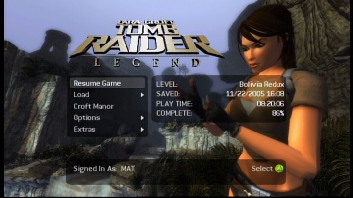 Lara Croft: Tomb Raider - Legend Xbox 360 Main Menu