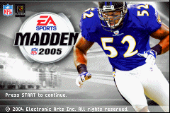 Madden NFL 2005 Game Boy Advance Title screen