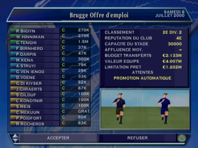 Alex Ferguson's Player Manager 2001 PlayStation The basic offer you start your career with. You can still refuse (French version).