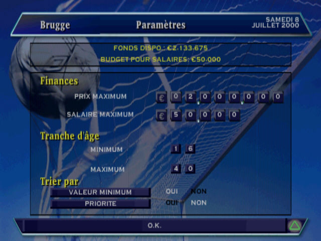 Alex Ferguson's Player Manager 2001 PlayStation An overview of your finances (French version)
