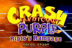Crash Bandicoot Purple: Ripto's Rampage Game Boy Advance Title screen.