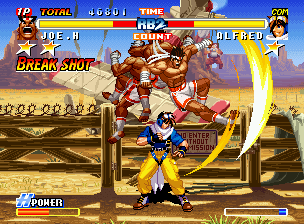 Real Bout Fatal Fury 2: The Newcomers Neo Geo CD Joe uses his Golden Heel (in Break Shot mode) to cancel Alfred's attack and reach the opposite side.