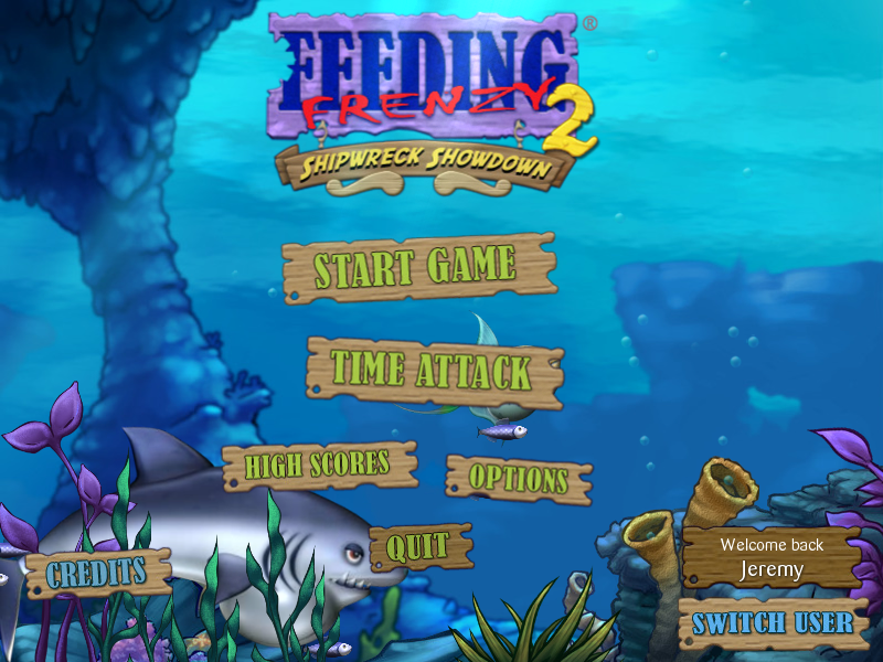 Feeding Frenzy 2: Shipwreck Showdown Windows The title screen has various fish swimming around it