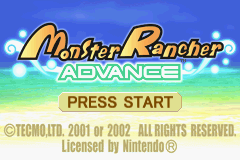 Monster Rancher Advance Game Boy Advance Title screen
