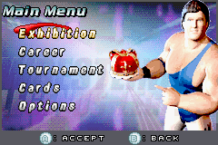 Legends of Wrestling II Game Boy Advance Menu screen