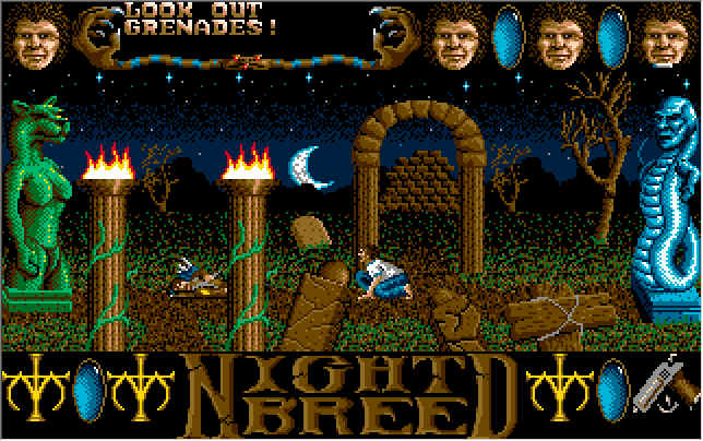 Clive Barker's Nightbreed:  The Action Game DOS Upper level in game screen