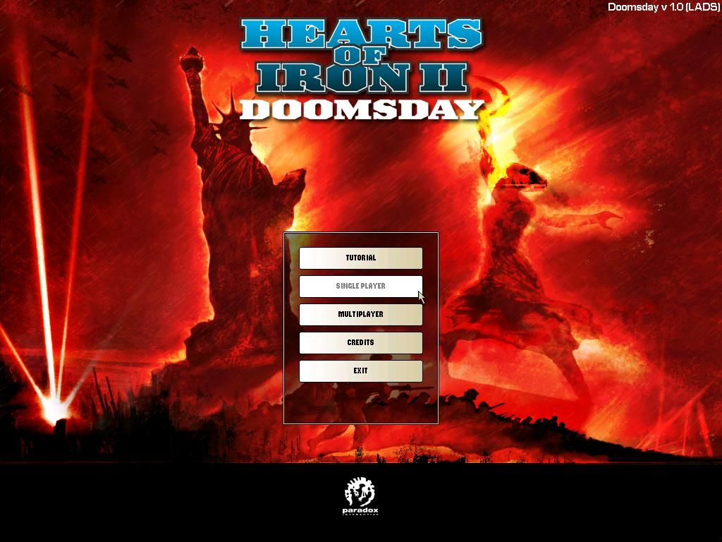 Hearts of Iron II: Doomsday Windows Main Menu - Symbols of the 2 superpowers