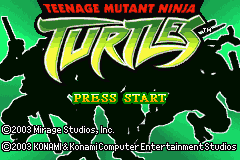Teenage Mutant Ninja Turtles Game Boy Advance Title screen.